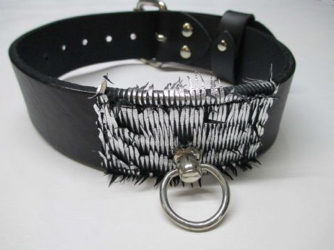 Black leather with Silver/Black Laser Cut leather front detail Collar